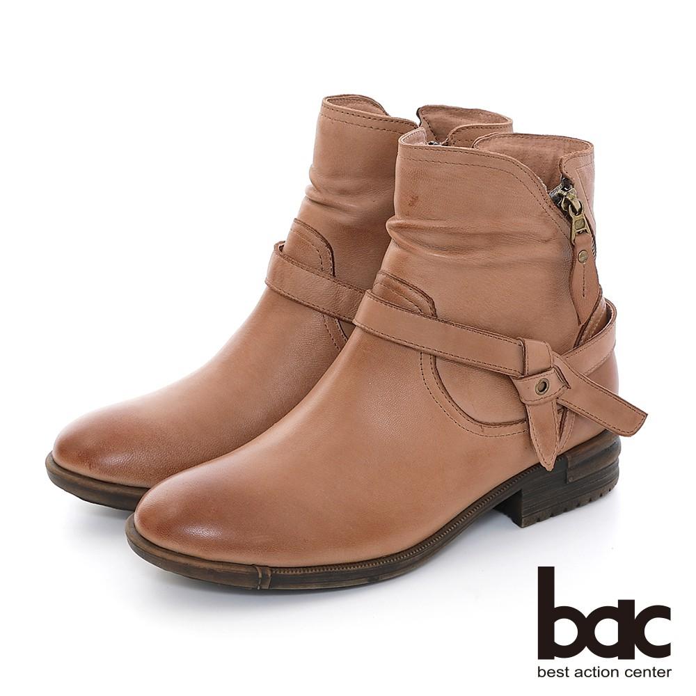 【bac】擦色感簡約拉鍊工程短靴-棕色