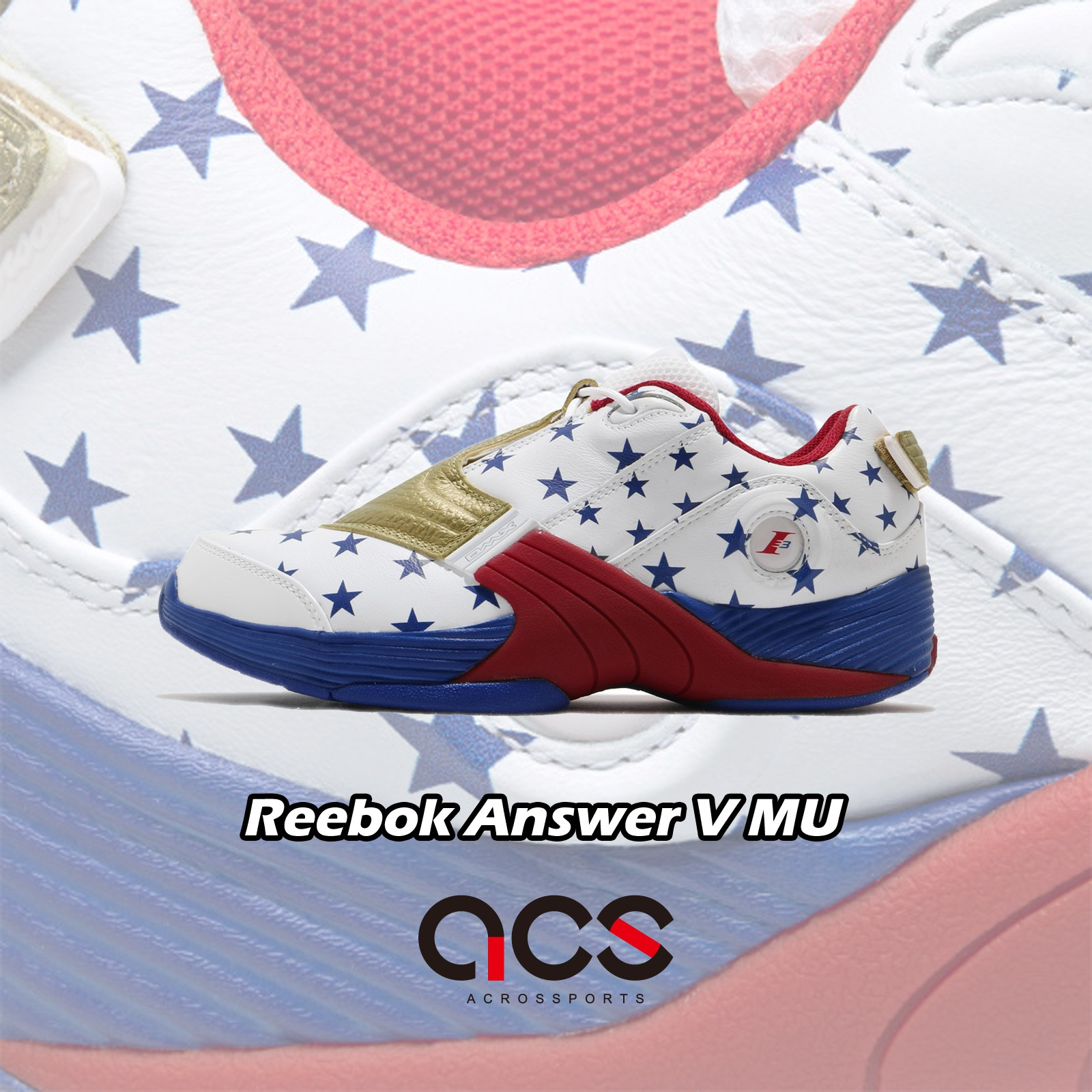 Reebok 籃球鞋 Answer V MU 白 藍 男鞋 美國旗星星 皮革 運動鞋 【ACS】 FW7486