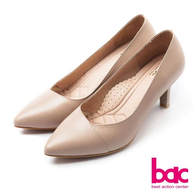 【bac】bac經典女郎-優雅尖頭收領式素面高跟鞋 - 杏色