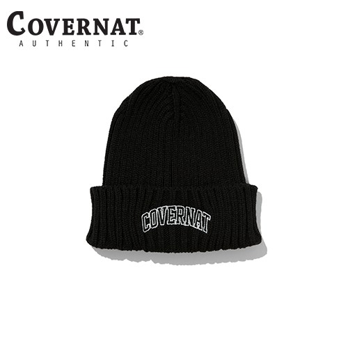 [COVERNAT] 20秋冬 雙色拱形LOGO毛線帽(黑色)