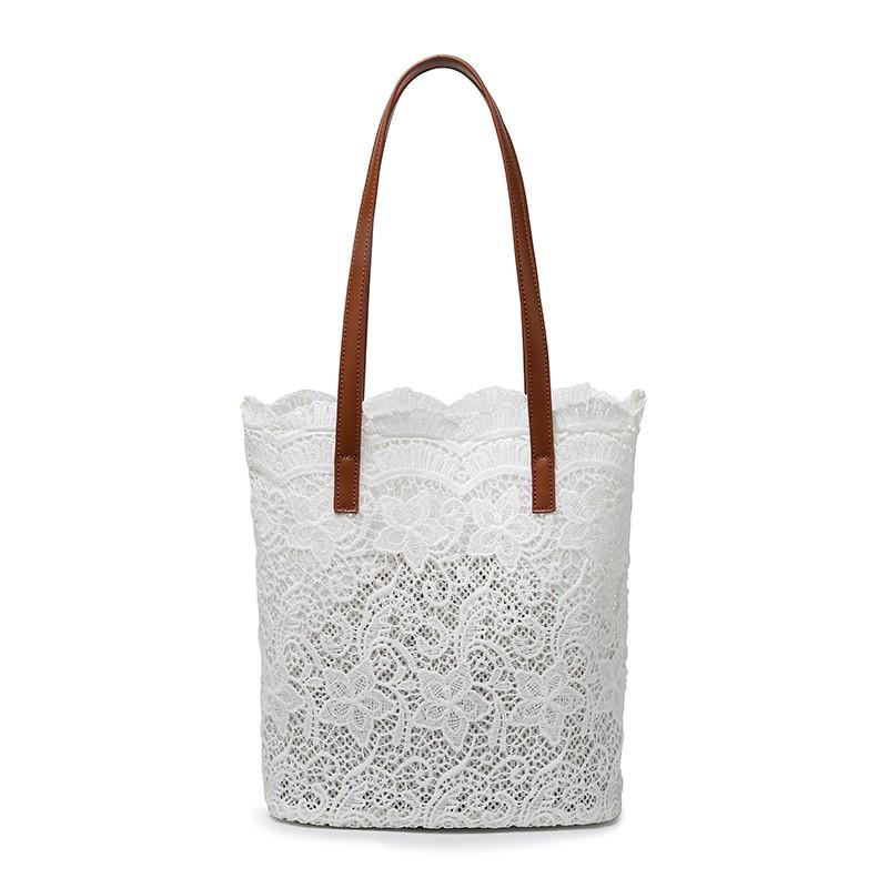 子母包 春夏新品正韓森系蕾絲單肩包手提包女士大容量水桶購物袋