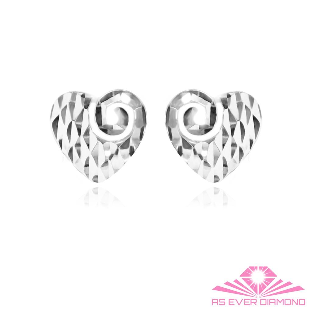 【AS EVER DIAMOND】義大利18K金耳環 創意愛心系列 層次款