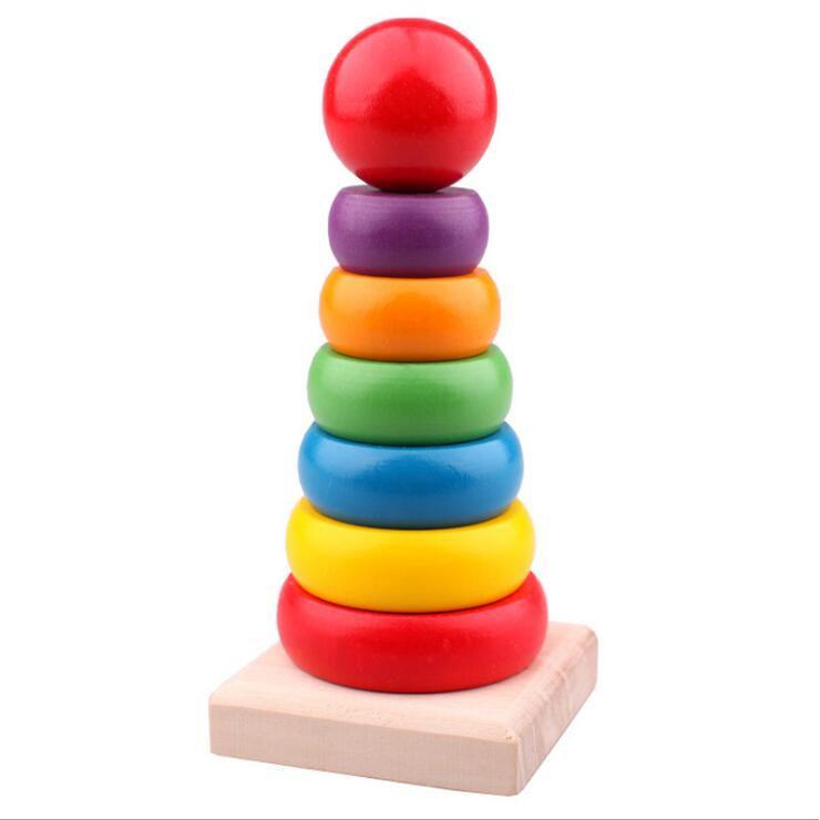 母嬰 小孩玩具木製小號層層疊彩虹套塔七層套塔兒童色彩認識益智積木玩具 母婴