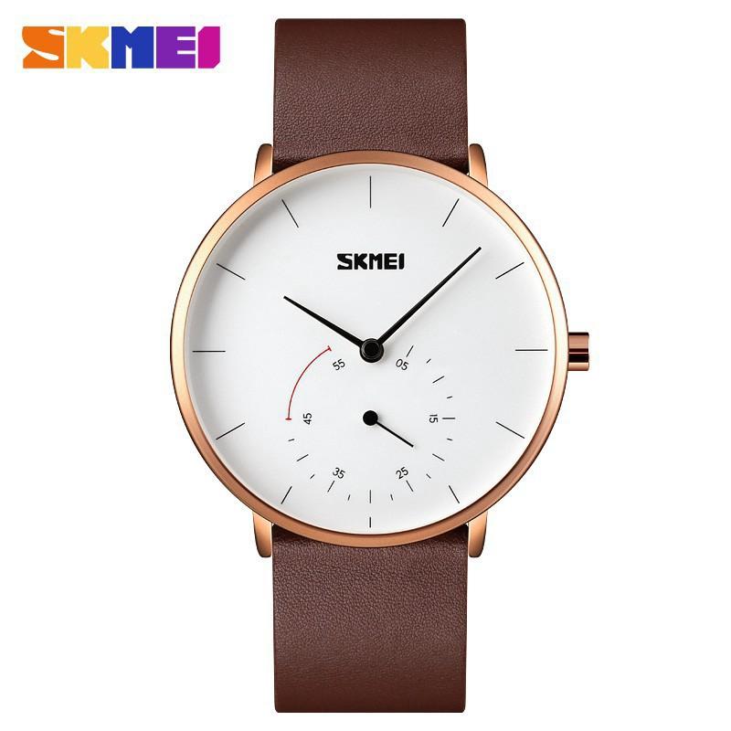 時刻美 SKMEI  9213石英手錶時尚男士手錶皮革禮服商務手鍊簡約設計手錶豪華時鐘
