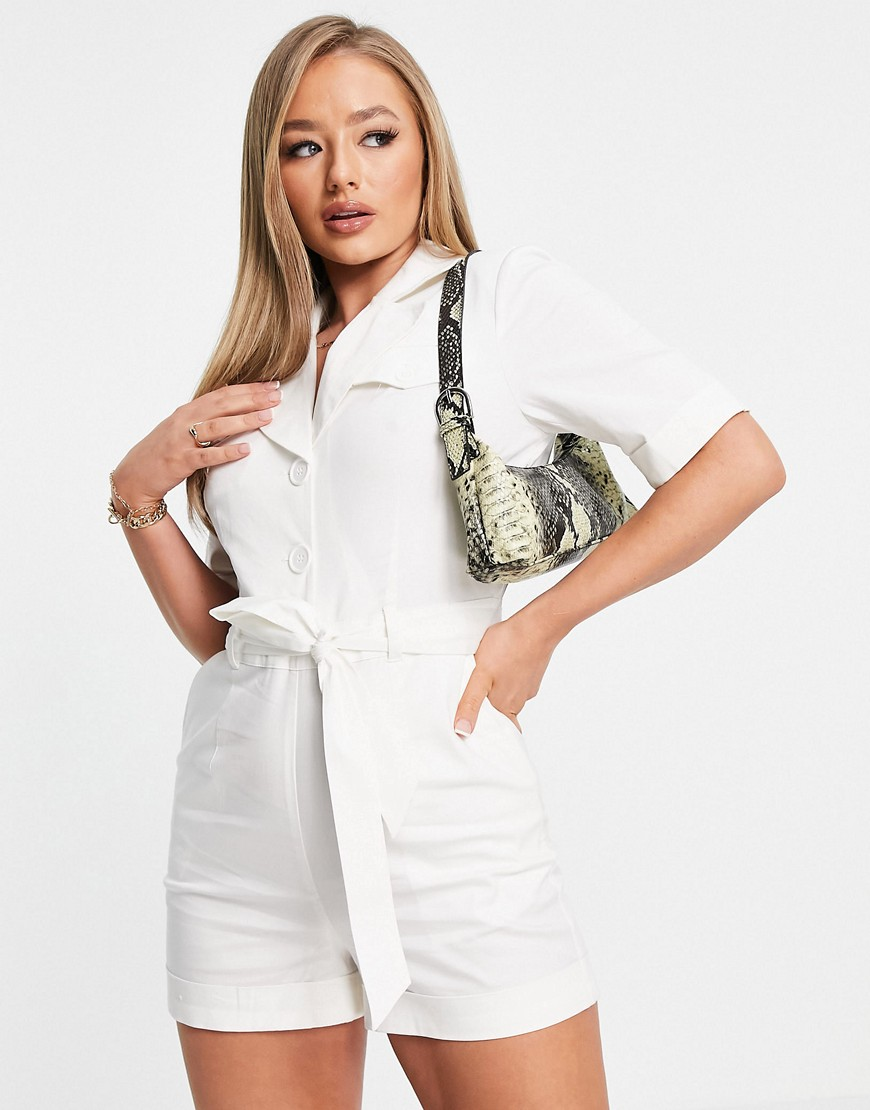 NA-KD padded jumpsuit in offwhite