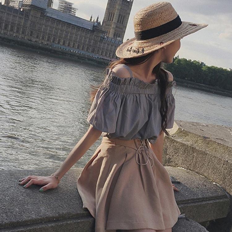 清涼一夏-兩件套洋裝 網紅chic夏裝新款一字領露肩上衣A字半身裙時尚兩件套裝洋裝女 夏季新品
