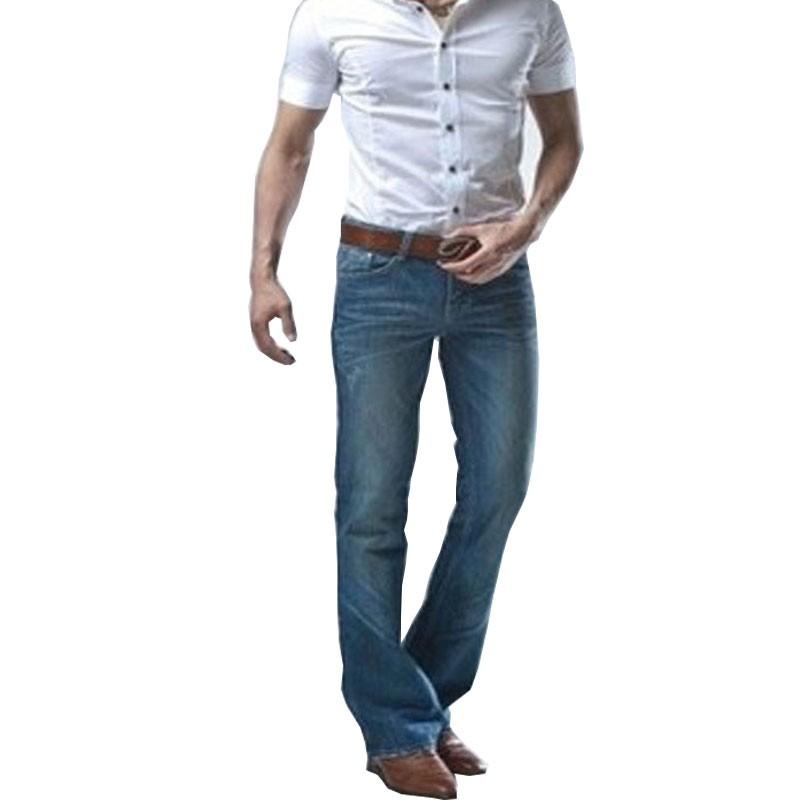 微喇叭牛仔褲 韓版潮修身小喇叭牛仔長褲 男士牛仔長褲 淺藍色牛仔長褲