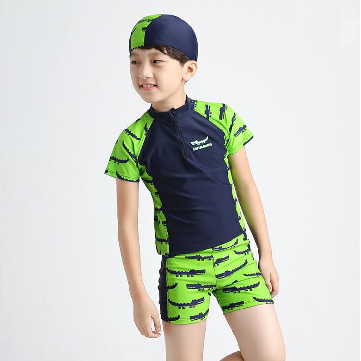 母嬰 夏季新款男童泳衣 上衣褲子帽子防晒分體平角褲泳衣 鱷魚泳衣 母婴