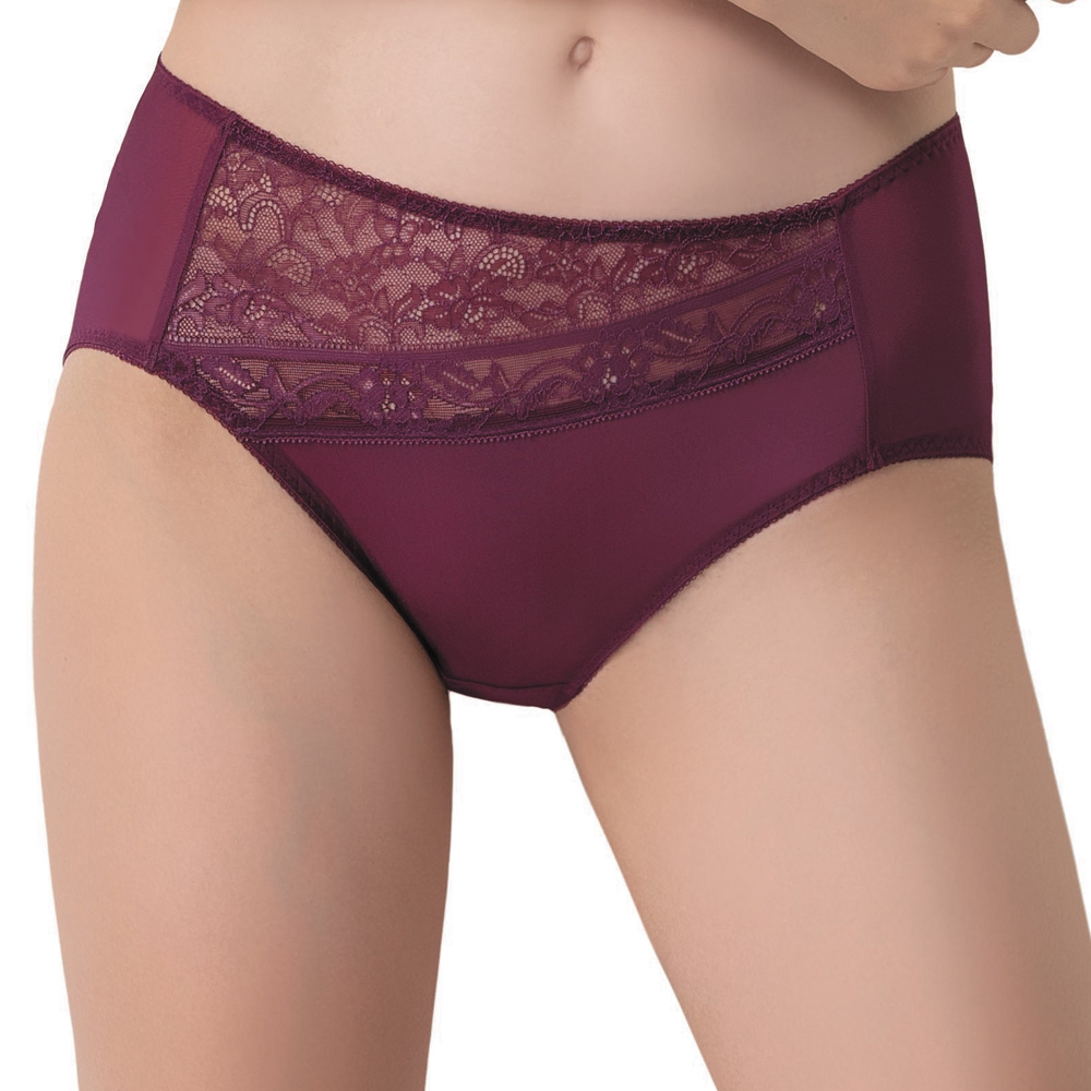 SWEAR 思薇爾 維納斯 系列 M-XXL 蕾絲 中腰 三角 內褲 (豔棗紅)