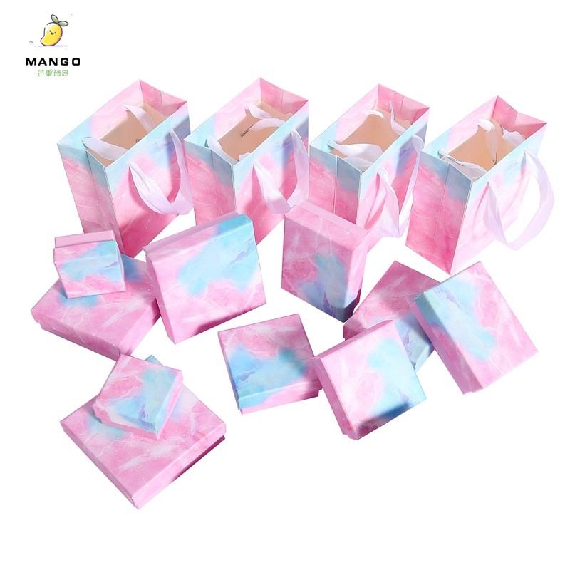 【現貨】禮盒海洋粉藍簡約首飾盒戒指手鏈耳釘項鏈小飾品盒生日女生禮物包裝盒 【現貨批發價】T753