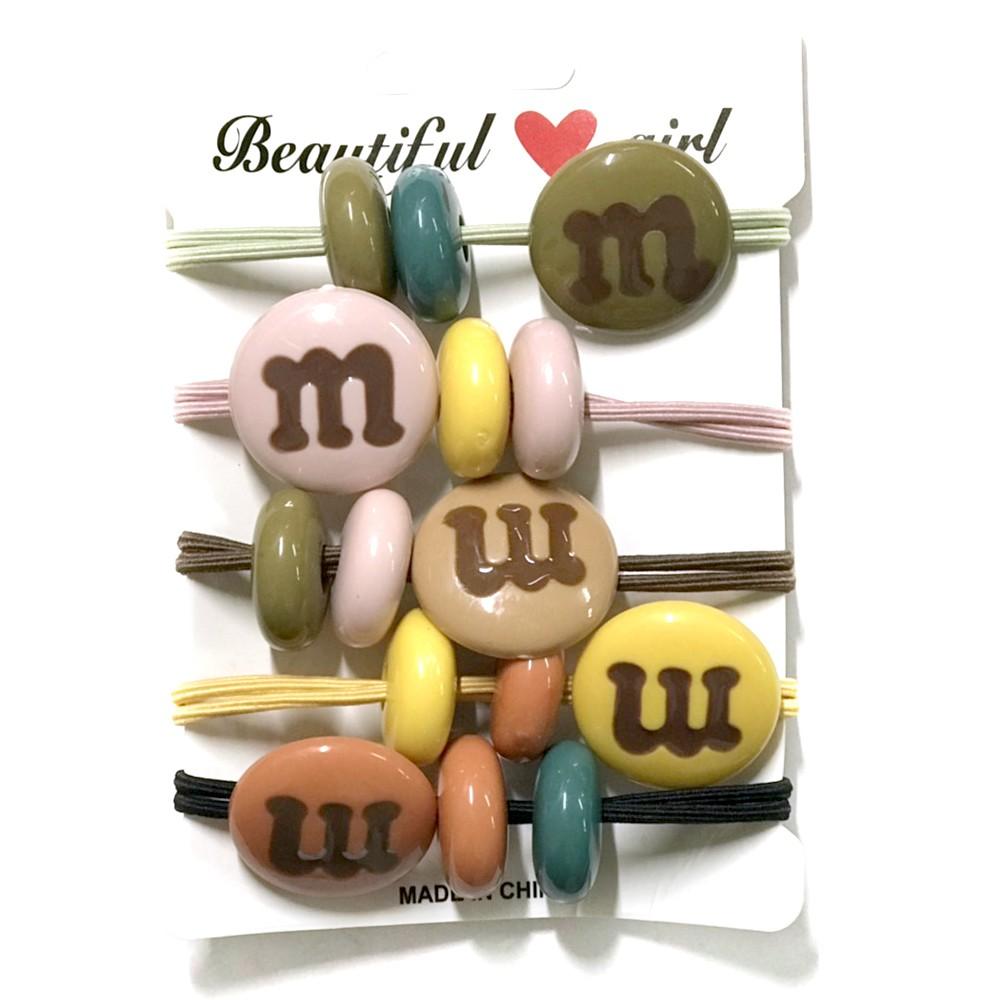 m巧克力豆造型髮圈 5入組 【美日多多福利社】髮圈 髮飾 綁頭髮 手環 飾品 造型 配件
