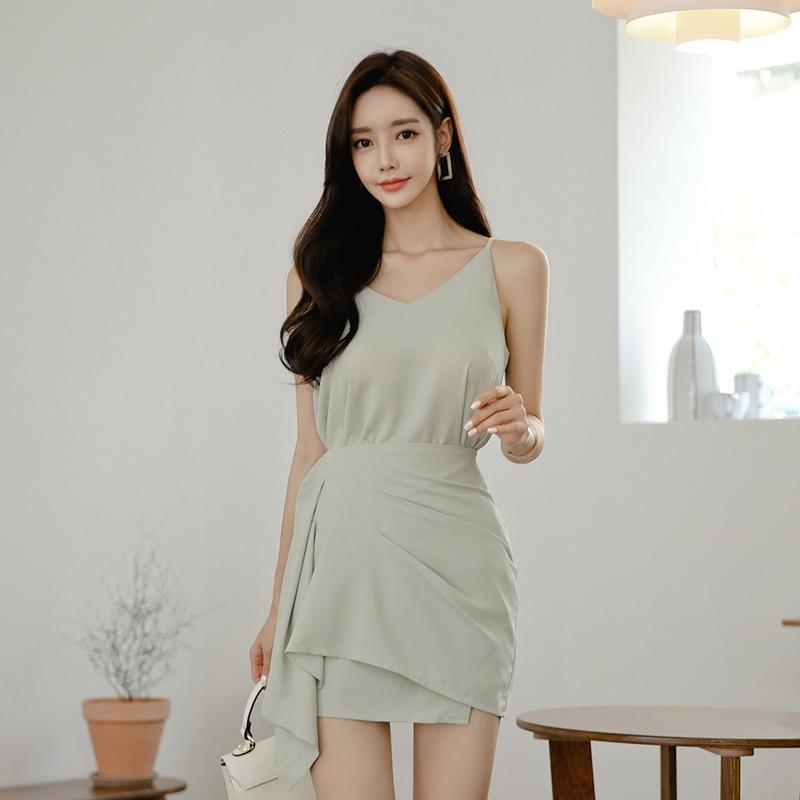 女生夏天兩件式套裝韓國女生穿搭 細肩帶吊帶上衣+不規則鬆緊腰短袖迷你裙 兩件式套裝