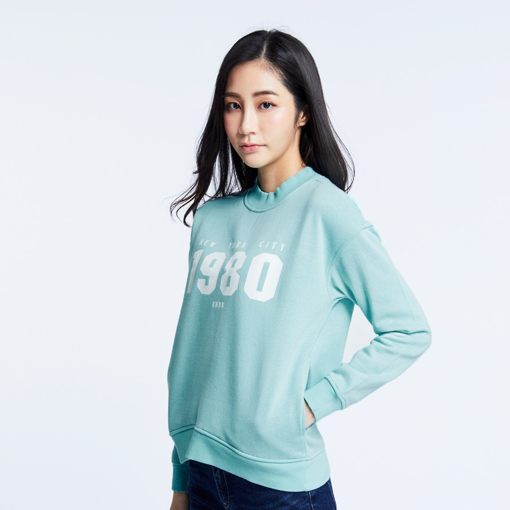 【ERSS】高領印花T - 女 淺綠色 K60041