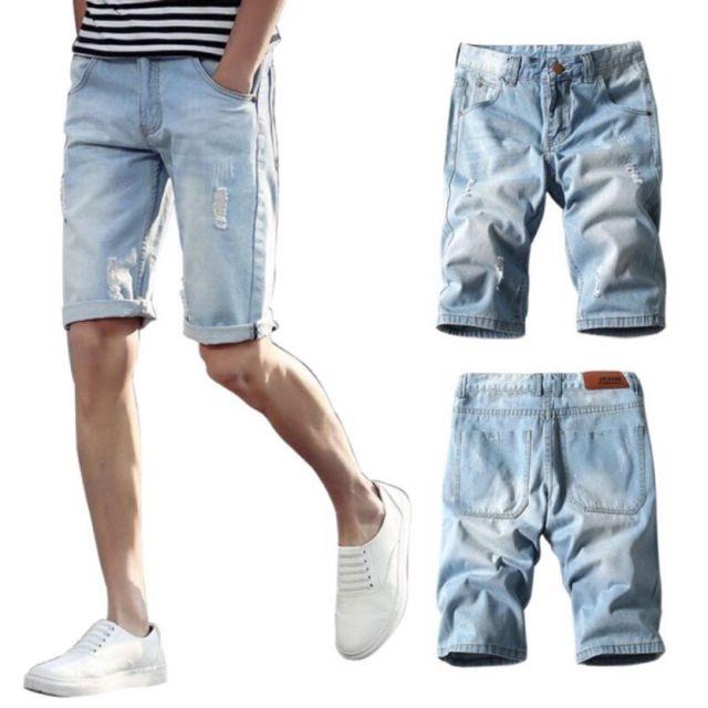 熱銷千件 大碼韓版刷白淺色破壞牛仔短褲潮男單寧褲五分褲