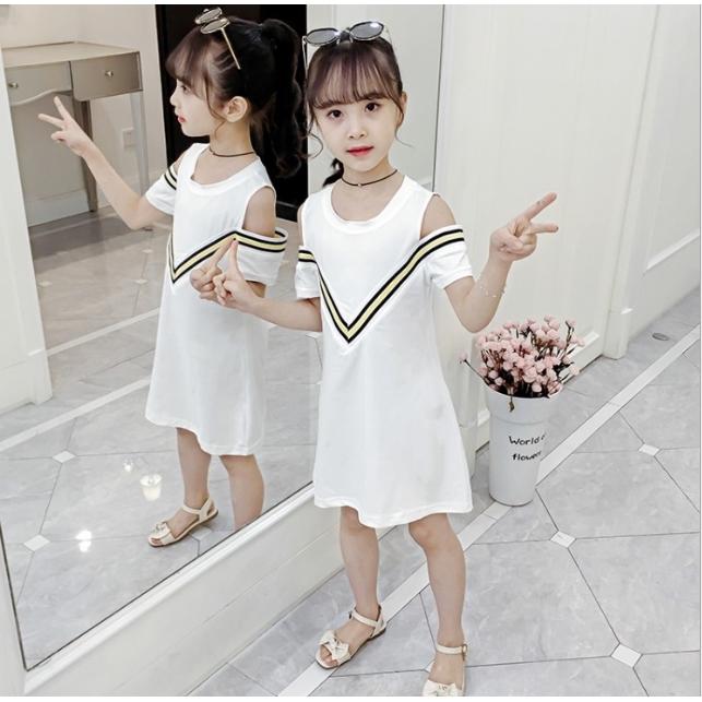 女童條紋露肩氣質洋裝 短袖洋裝 中大童洋裝 女童洋裝 女童連衣裙 女童連身裙【蘋果小舖】(AA) 2005 A55