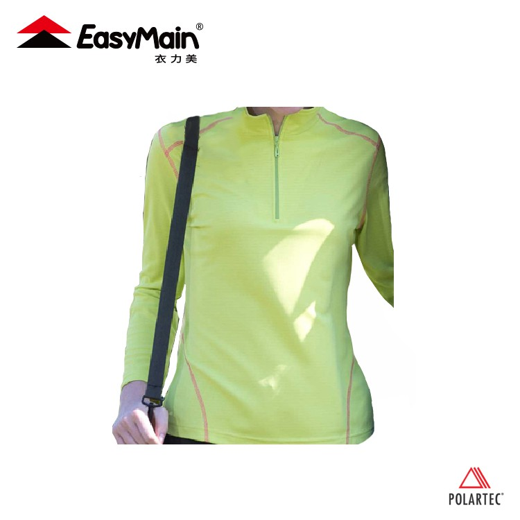 【EasyMain 女 調溫防臭無靜電長袖休閒衫《蘋果綠》】SE6040/機能款/戶外中層衣/防曬快乾上衣/悠遊山水