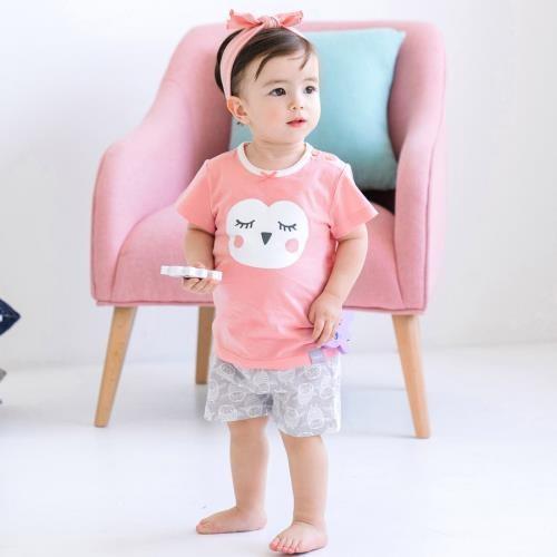 韓國 Cordi-i 幼兒親膚涼感短袖套裝-甜美貓頭鷹