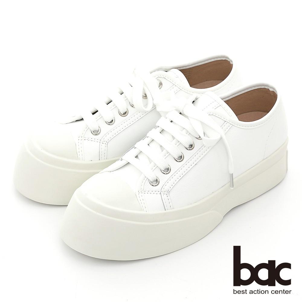 【bac】小清新風格大頭厚底綁帶平底鞋 - 白色