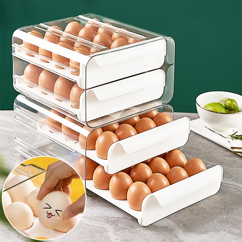 【防疫儲備雞蛋免煩惱】 雙層抽屜式可堆疊保鮮雞蛋盒(32/40格)