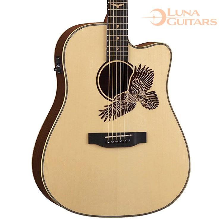 【全館折300】LUNA EAGLE 老鷹響孔 41吋 雲杉單板/玫瑰木側背 民謠吉他 電木吉他 插電吉他 D桶