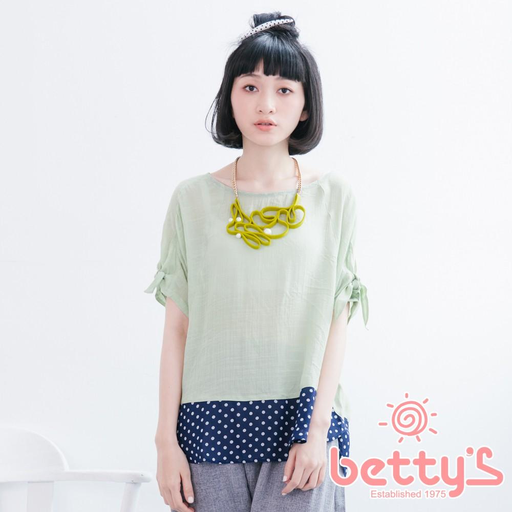 betty's貝蒂思 袖口綁結下擺拼接圓點雪紡上衣(淺綠色)