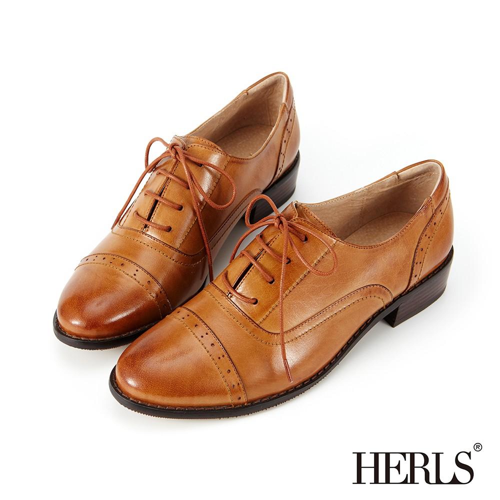 HERLS牛津鞋 全真皮奶油擦色沖孔粗跟牛津鞋 棕色