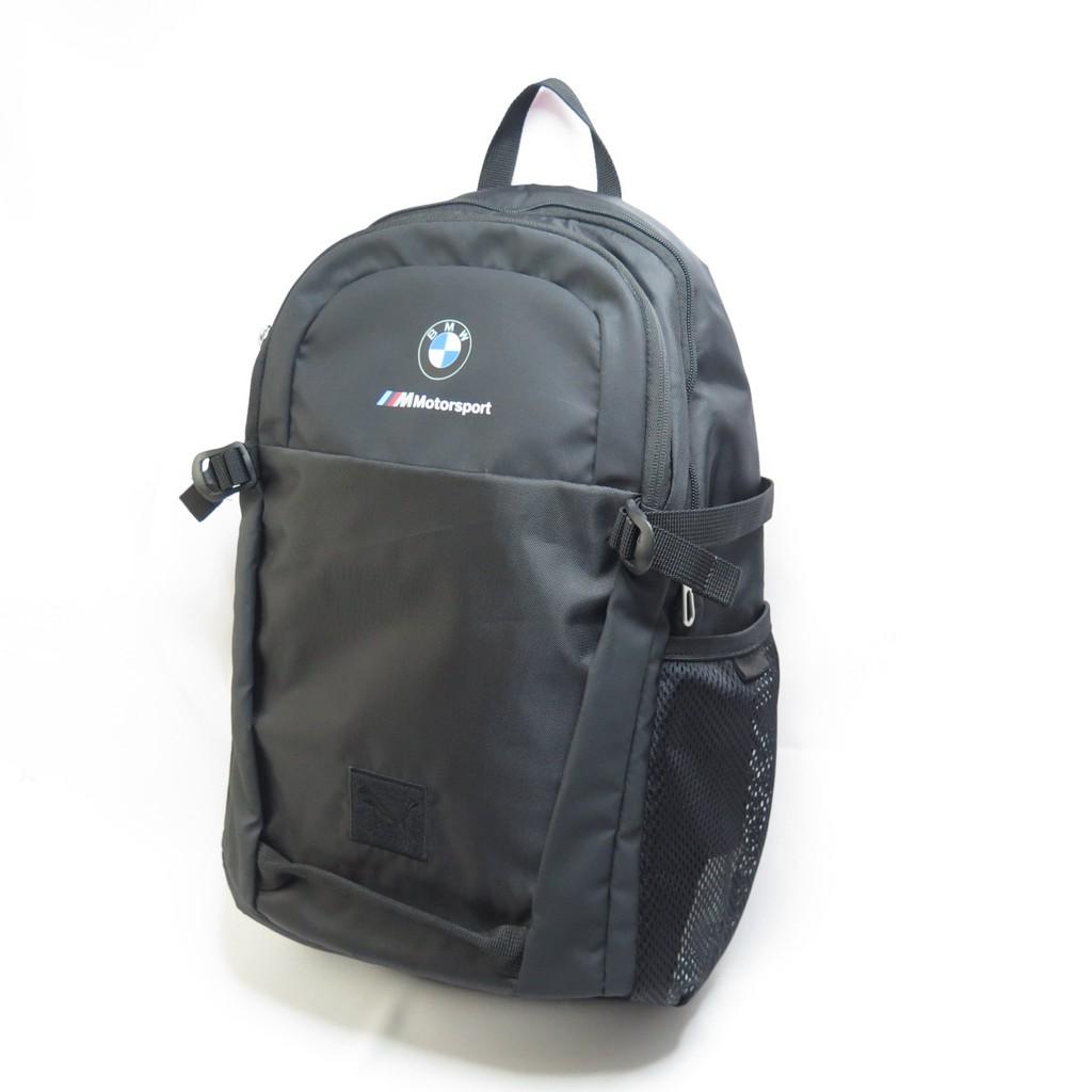 PUMA BMW M 雙肩後背包 電腦夾層 單邊側網袋  07574601 黑【iSport愛運動】