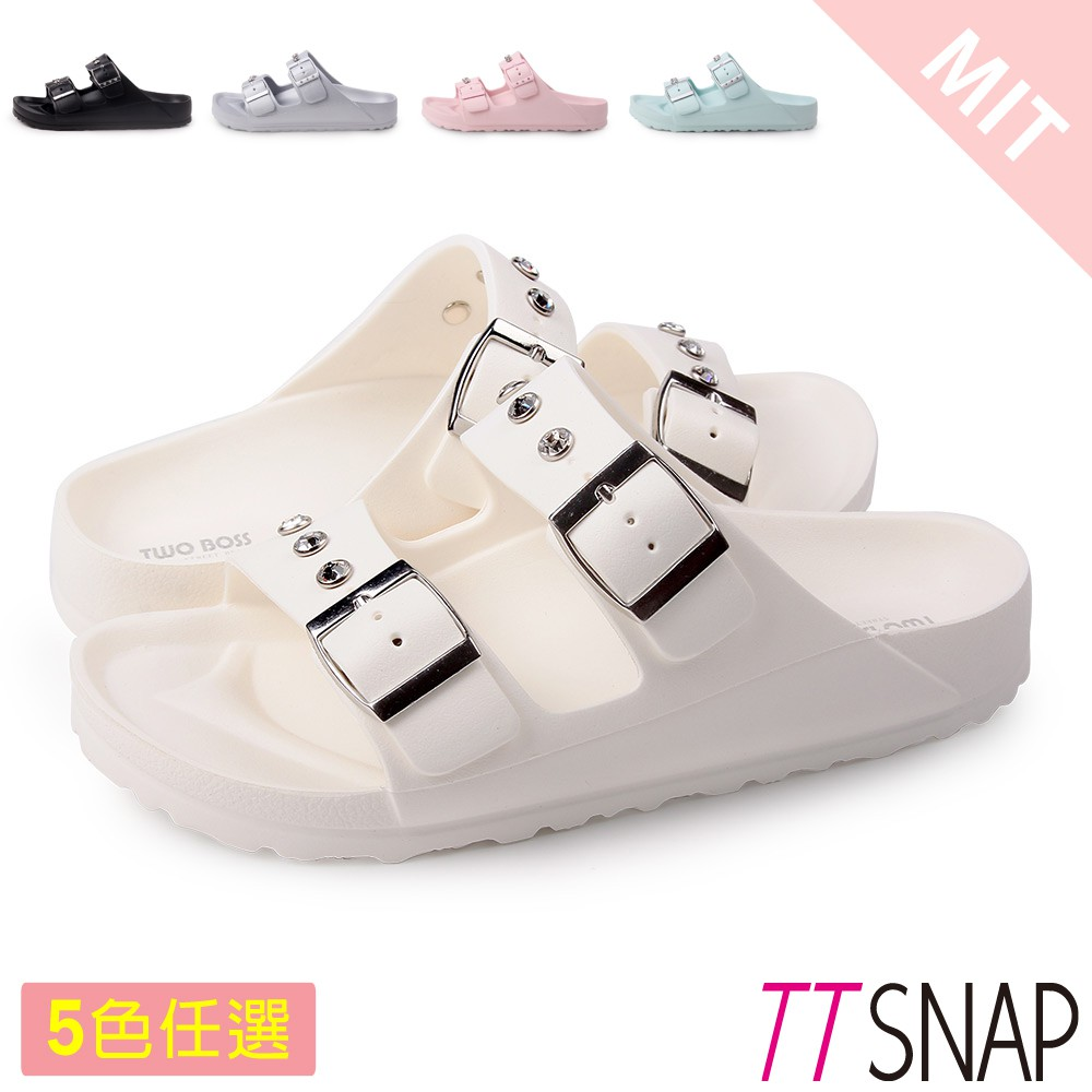 TTSNAP拖鞋-MIT輕量水鑽休閒防水拖鞋 黑/白/灰/粉/藍