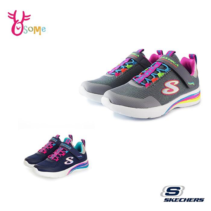 2款 Skechers童鞋 女童運動鞋 DYNAMIGHT 記憶鞋墊童鞋 透氣跑步鞋 魔鬼氈 柔軟 U8293灰色