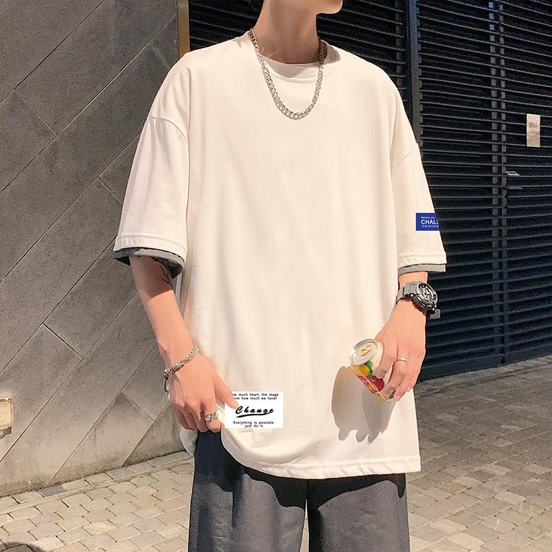 【四色可選】M-5XL日系潮大尺碼潮流撞色拼接假兩件圓領短袖T恤 韓版學院風青年百搭素色寬鬆T恤 正韓上衣 男生衣著