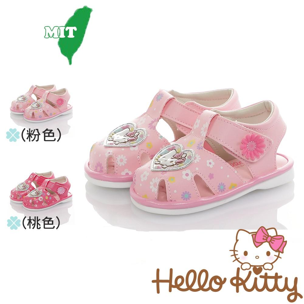 Hello Kitty童鞋 12.5-14.5cm 輕量減壓吸震寶寶學步嗶嗶鞋 粉.桃(聖荃官方旗艦店)