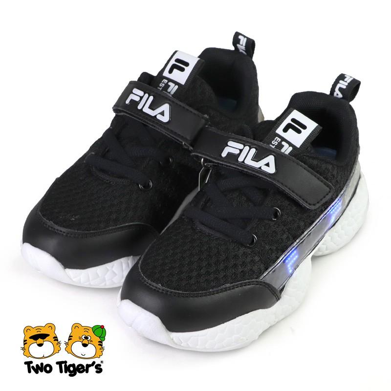 FILA 兒童燈鞋 閃燈鞋 魔鬼氈 運動鞋 中童鞋 黑色 NO.R6516