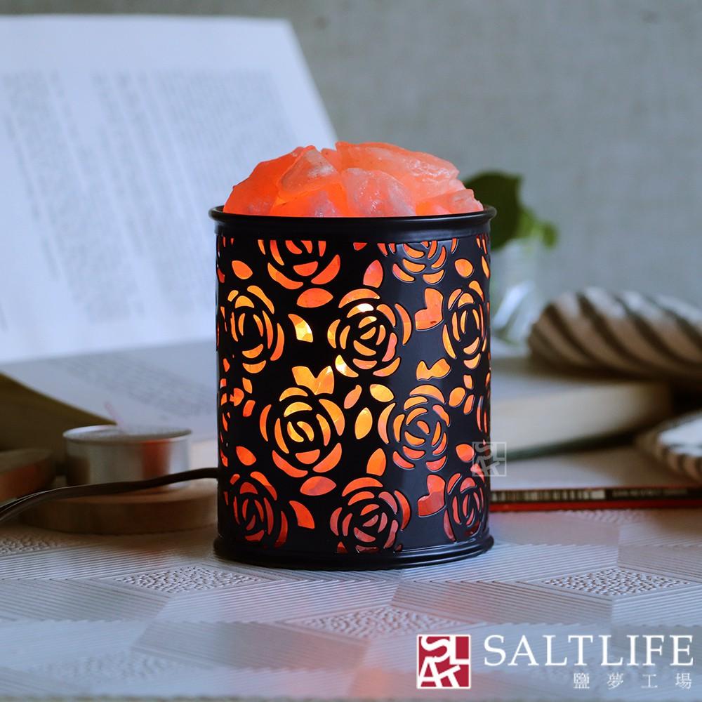 【鹽夢工場】創意系列-玫瑰雕花桌燈(黑)