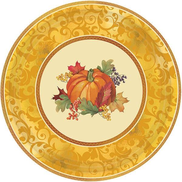 派對城 現貨 【7吋圓盤8入-豐收佳節】 歐美派對 餐具 紙杯 紙盤 派對用品 派對餐具 感恩節 派對佈置 拍攝道具