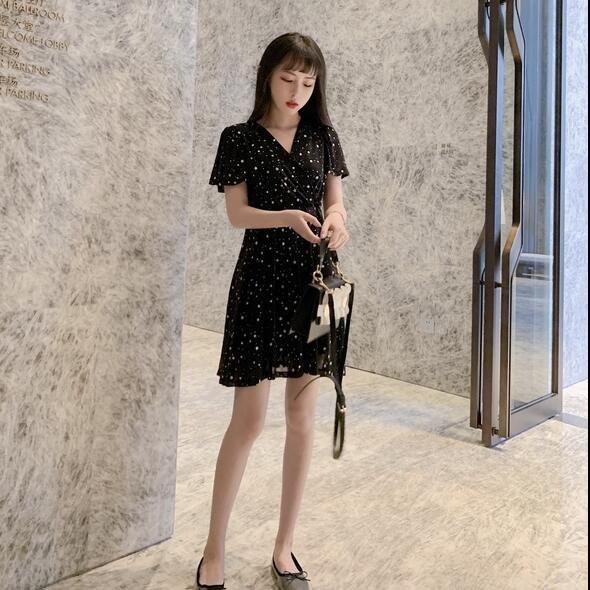 洋裝 連身裙 S-XL新款法式複古裙過膝很仙v領星星收腰顯瘦裙子G619-8118.胖胖美依