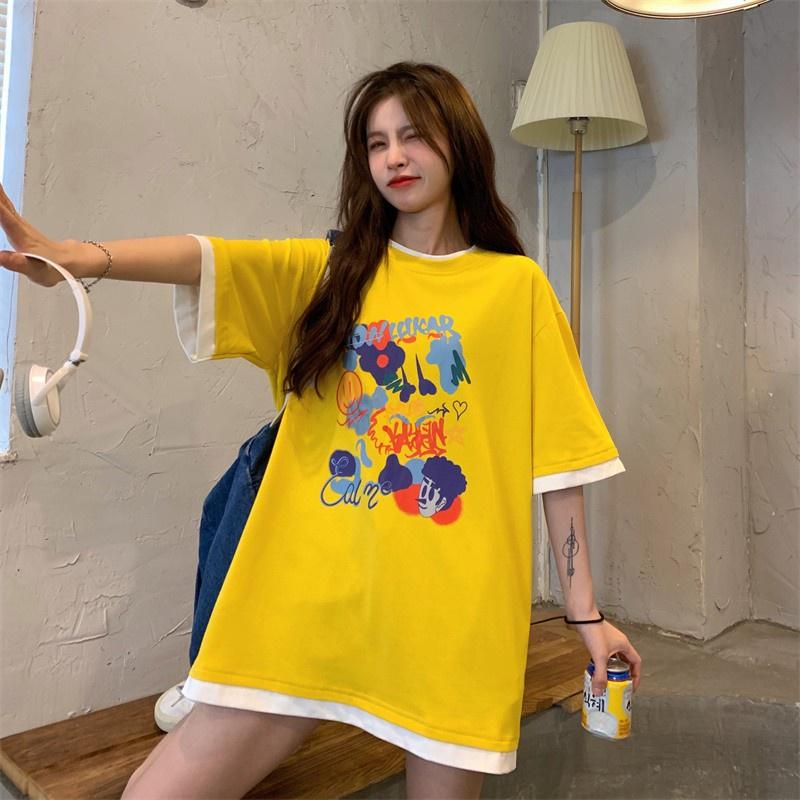個性T恤 休閒寬鬆T恤 韓版 假兩件 女上衣 寬鬆顯瘦 oversized 短袖T恤 依多多