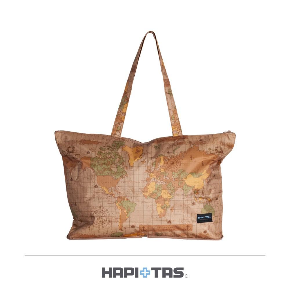HAPI+TAS 米色世界地圖 摺疊肩背包【旅遊補給】 摺疊旅行袋 肩背包H0001