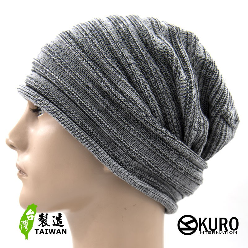 KURO-SHOP台灣製造 黑、灰混紡多層次 薄針職帽 扁帽
