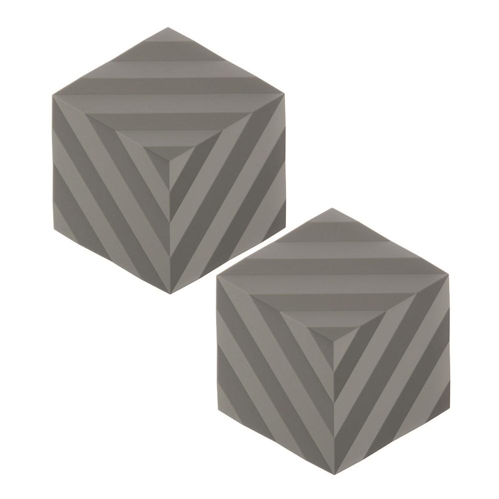 2入丹麥ZONE FOLD系列幾何矽膠鍋墊-泥灰