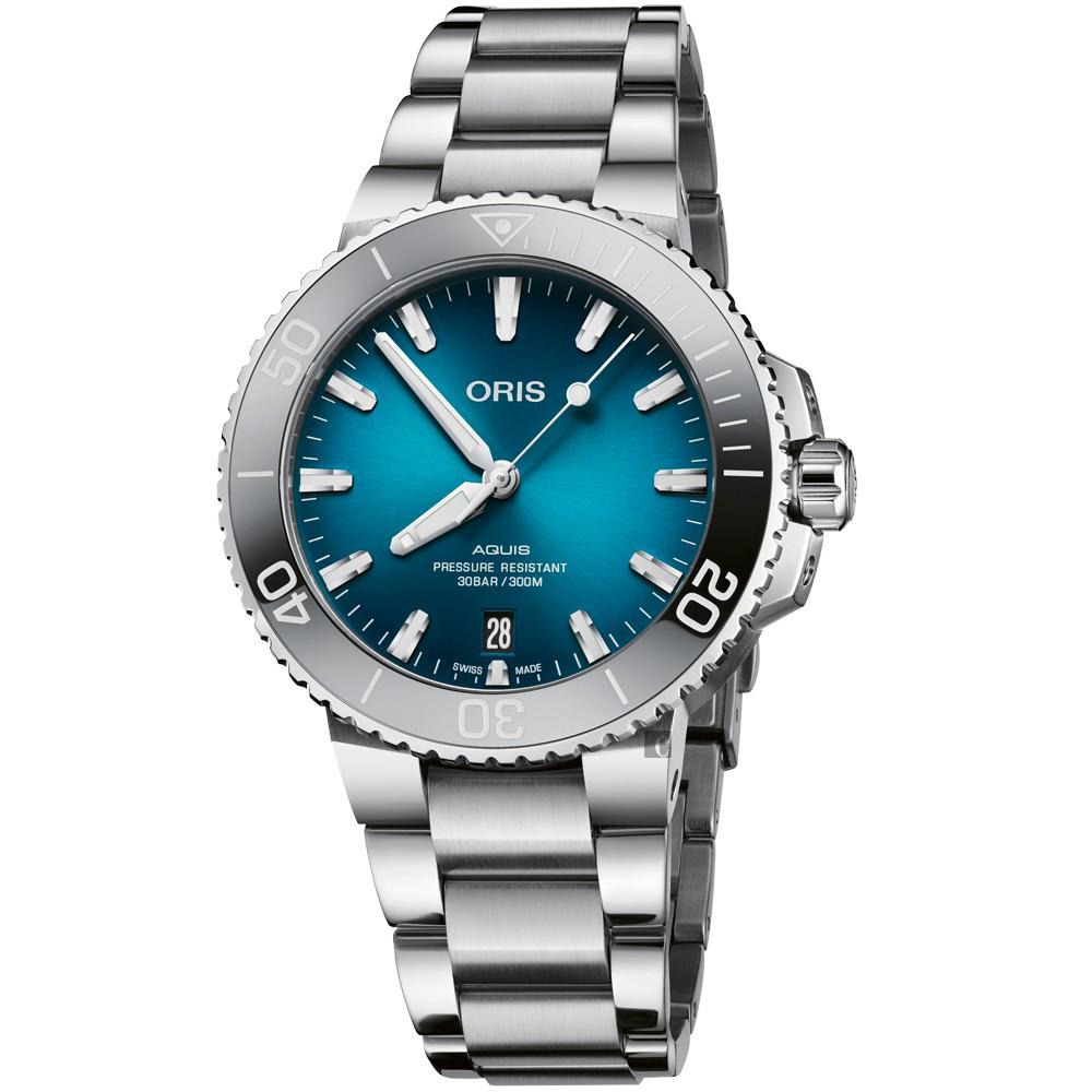 Oris豪利時 Aquis 時間之海漸層藍300米潛水錶-39.5mm 0173377324155-0782105PEB