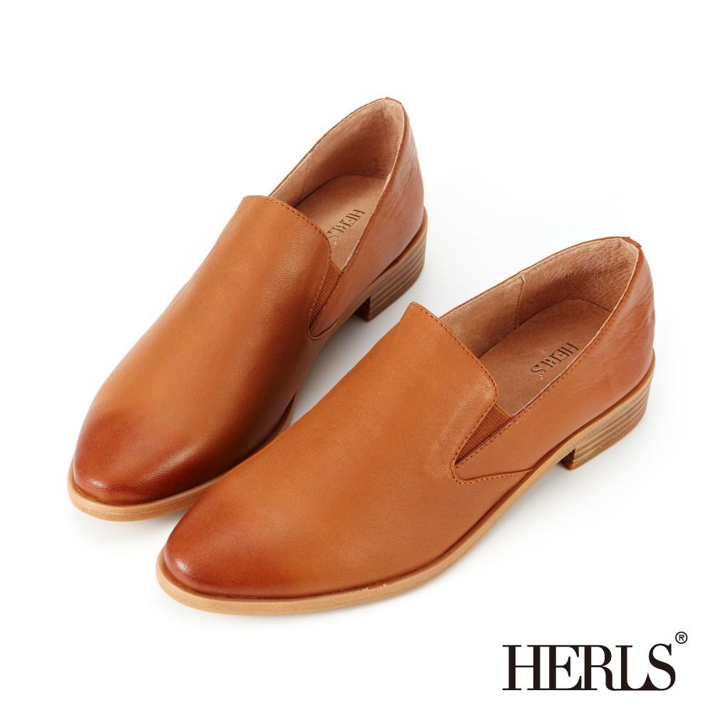 HERLS樂福鞋 品味生活全真皮素面橢圓頭樂福鞋 棕色