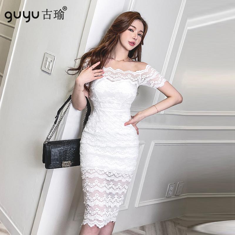 蕾絲一字肩洋裝 S-XL正韓短袖露肩平口洋裝白色及膝包臀連衣裙婚禮宴會禮服