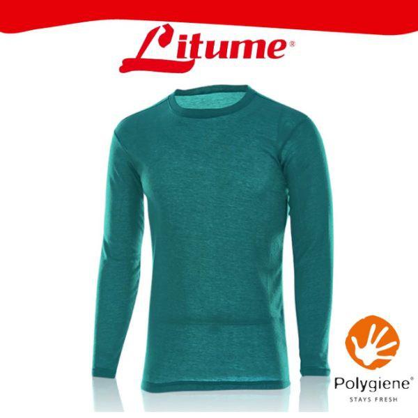 【Litume 意都美 男 刷絨彈性保暖衣《藍綠》】KJ003W/內層衣/圓領/內刷毛/抑臭/快乾/悠遊山水
