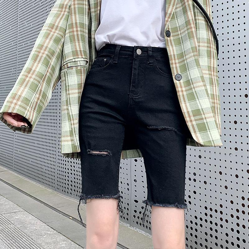 [現貨] 復古牛仔女 夏季高腰緊身直筒港味顯瘦外穿騎行褲網紅五分褲