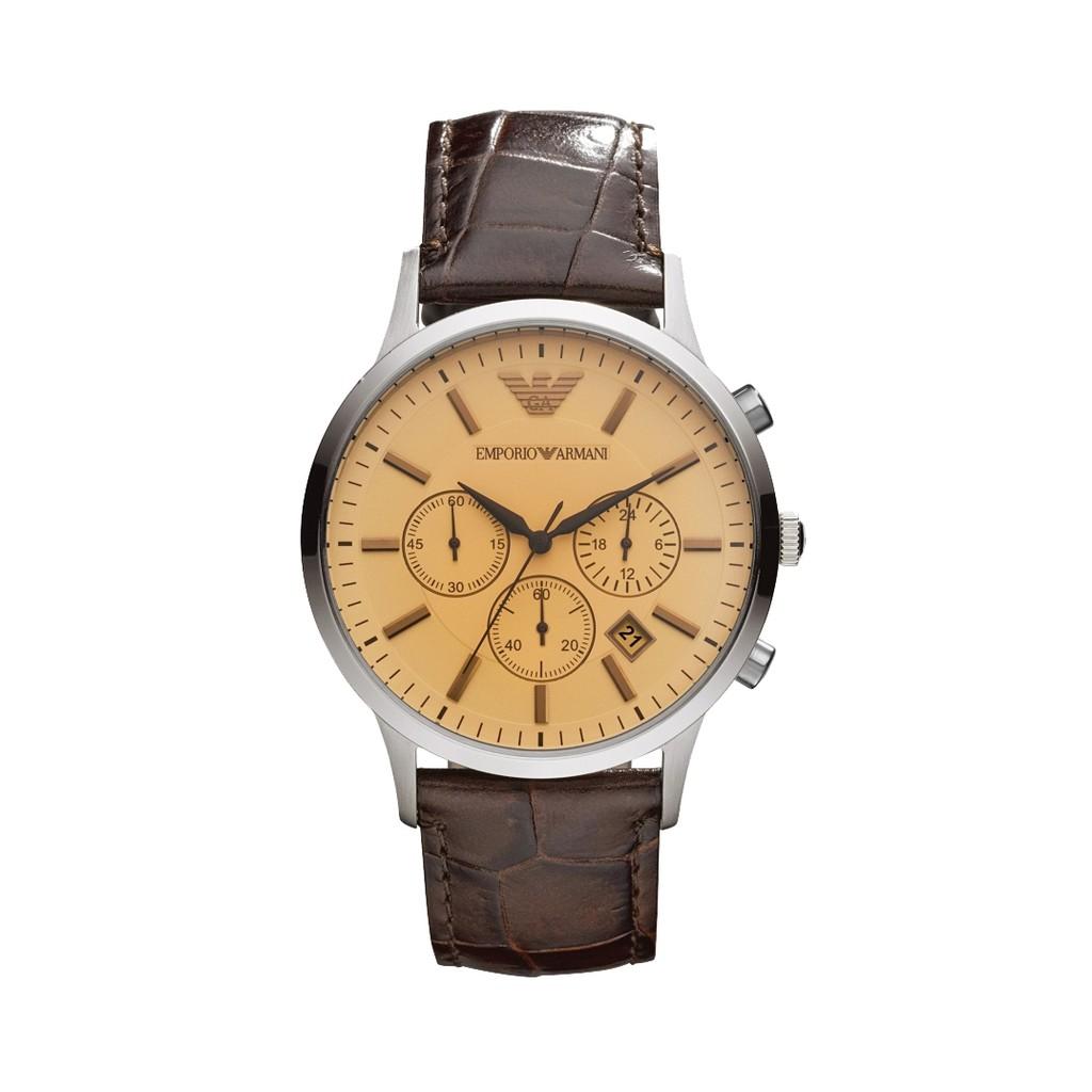 【Emporio Armani】美式經典復刻三眼計時真皮腕錶-復古棕/AR2433/台灣總代理公司貨享兩年保固