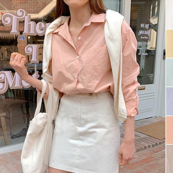 【CAAD176R】正韓 韓國製 自然紋路純棉襯衫上衣~首爾蝶衣