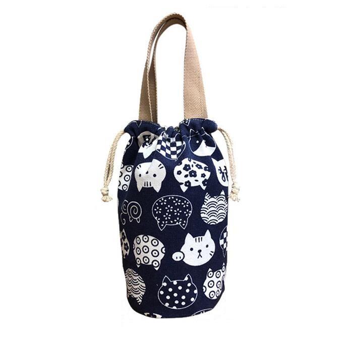 日式抽繩圓形保溫桶飯盒袋手提袋學生便當包燜燒壺水杯袋手提包