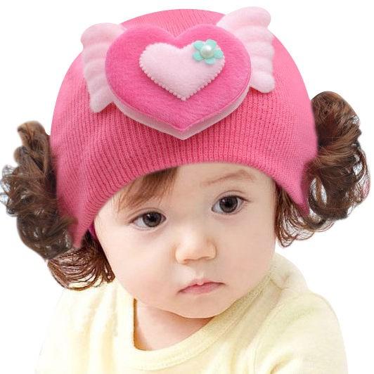 寶寶帽子 兒童假髮套頭帽 女嬰毛線帽 針織帽 秋冬保暖 小公主可愛帽子 兒童配件 套頭帽 卡通裝飾【HOT 本鋪】