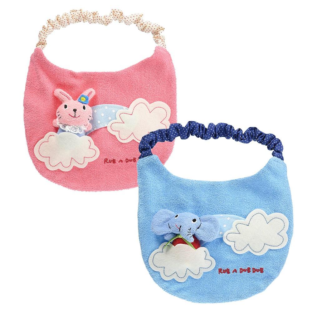 RUB A DUB DUB 兔子 大象雲朵圍兜/日本直送 有聲安撫圍兜 套式【Bonne Boutique幸福雜貨】