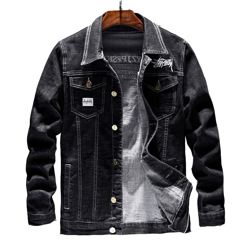 時尚牛仔外套 棉彈質感 長袖外套 黑色牛仔上衣 防風外套 修身顯瘦日系韓版男生衣服 休閒服飾 彈性夾克丹寧外套 現貨YM
